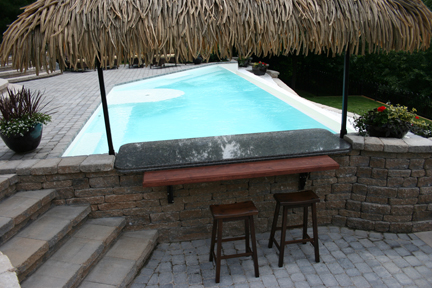 Fiberglass Swimming Pools With Heated Wet Bar Underwater Seats