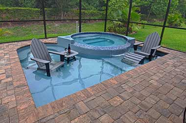 Fun Deck fiberglass swimming pool
